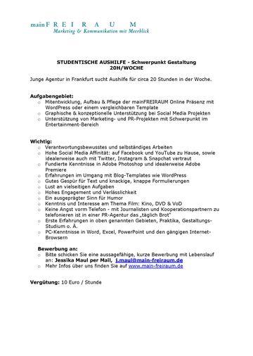 Hfg Offenbach Studentische Aushilfe Schwerpunkt Gestaltung