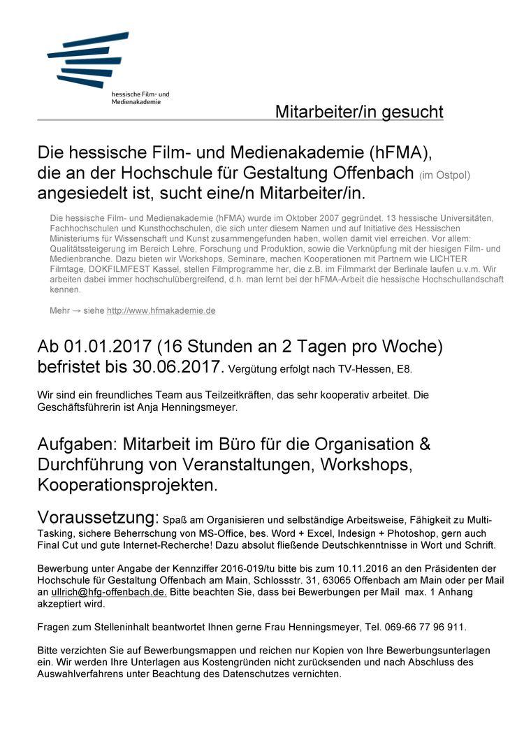 Hfg Offenbach Mitarbeiterin Gesucht