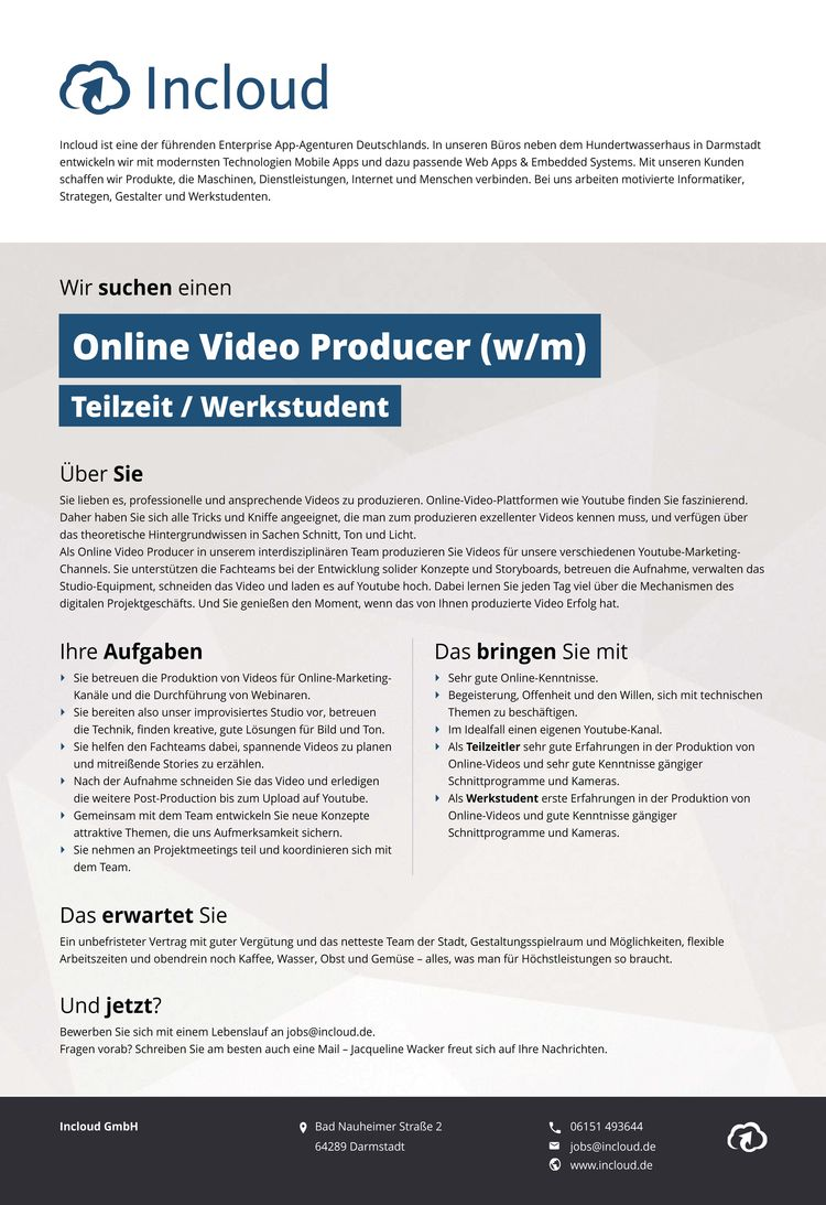 2016 12 stellenausschreibung online video producer - Youtube Video Bewerben