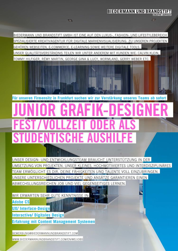 hfg offenbach junior grafik designer fest vollzeit oder als studentische aushilfe m w. Black Bedroom Furniture Sets. Home Design Ideas