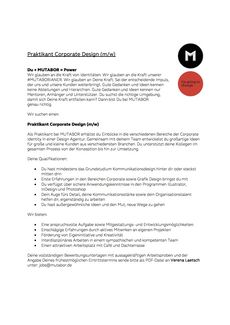 Mutabor praktikant corporate design
