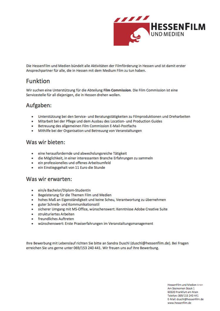 hfg offenbach - Bewerbung Studentenjob