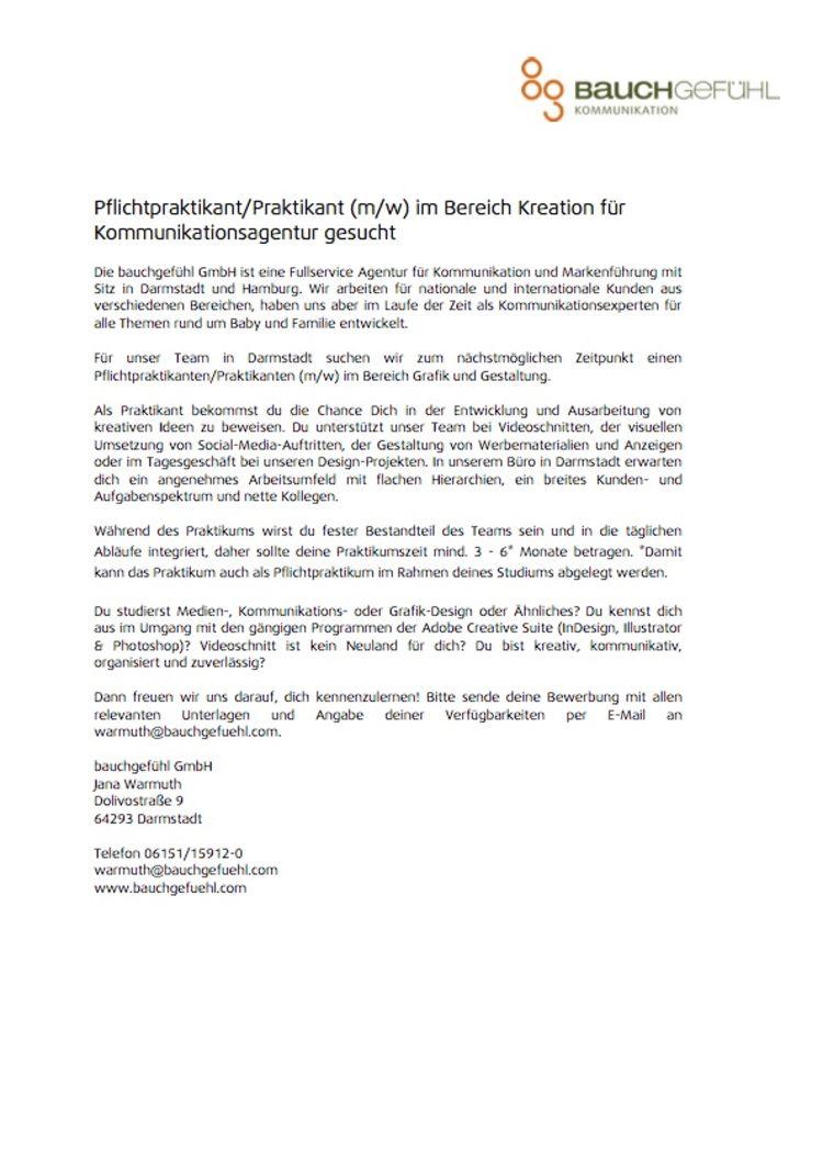 HfG Offenbach - Pflichtpraktikant/Praktikum im Bereich Kreation